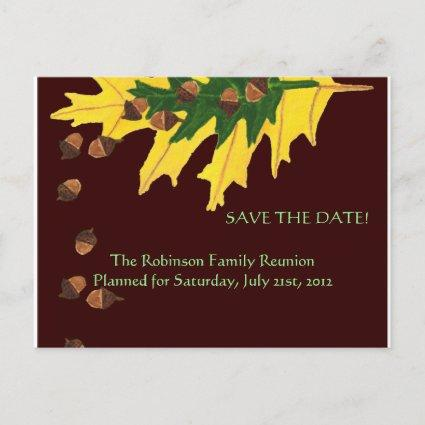 Oak Leaves and Acorn Family Reunion Save the Date Announcement
