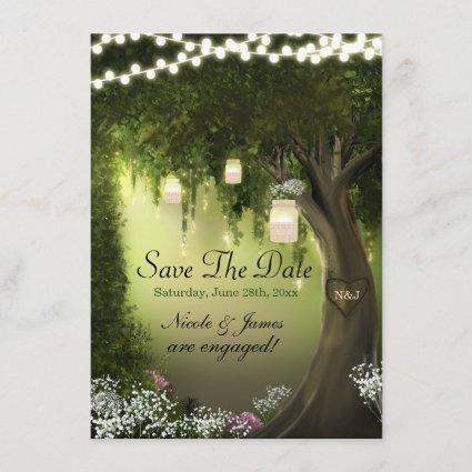 Oak Tree Enchanted Forest Garden Save the Date