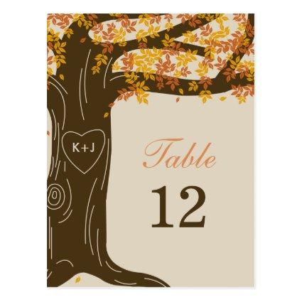 Oak Tree Fall Wedding Table Number Cards