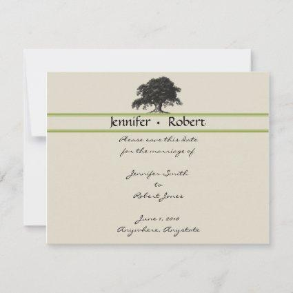 Oak Tree Plantation in Green Save the Date