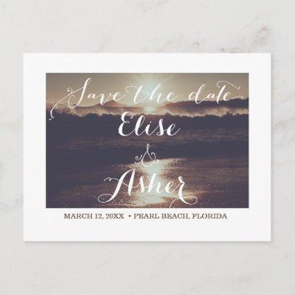 Ocean & Beach Save the Date Cards with Photo