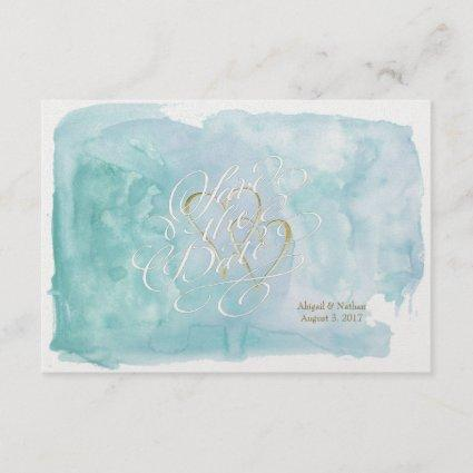 Oceanic Blue Watercolor Save The Date Wedding