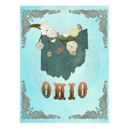 Ohio Map With Lovely Birds Cards