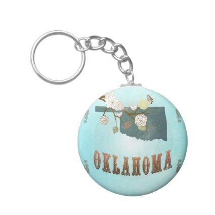 Oklahoma Map With Lovely Birds Keychain