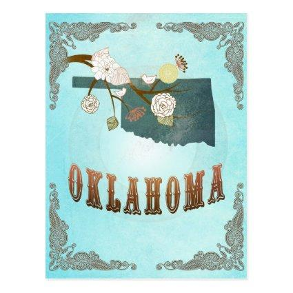 Oklahoma Map With Lovely Birds Cards