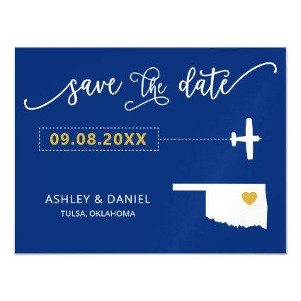 Oklahoma Wedding Save the Date Card, Map Magnetic Invitation