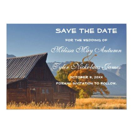 Old Country Barn Rustic Wedding Save The Date Magnetic Invitation