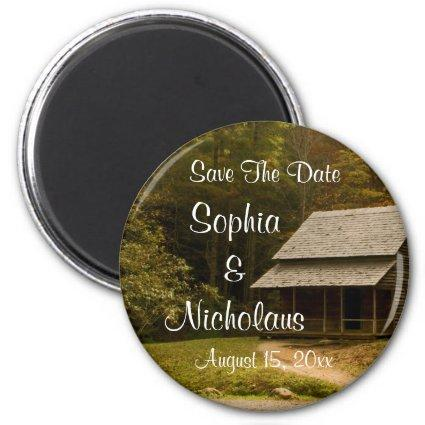 Old Country Cabin Rustic Wedding Save The Date Magnet