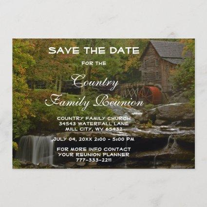 Old Country Mill Rustic Waterfall Family Reunion Save The Date