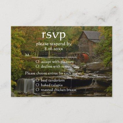 Old Country Mill Rustic Waterfall Wedding RSVP
