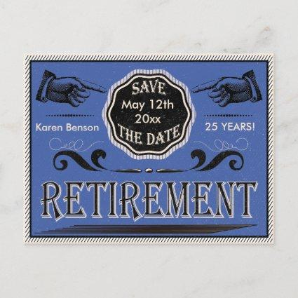 Old Fashioned Retirement Save The Date - Blue Announcements Cards