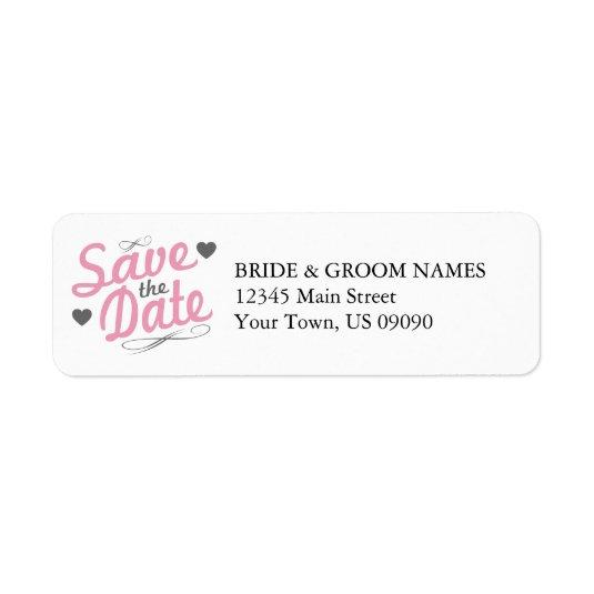 old fashioned gray pink return address label save the date cards