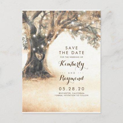 Old Oak Tree and Carved Heart Save the Date Announcement