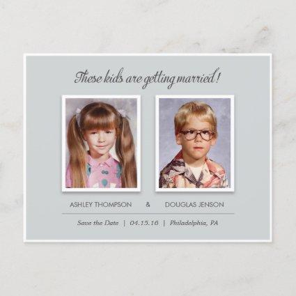 Old Photo Save the Date Cards - Modern Slate