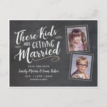 Old Photos Handwritten Script Save the Date Announcements Cards