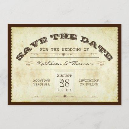 old ticket typographic save the date flat