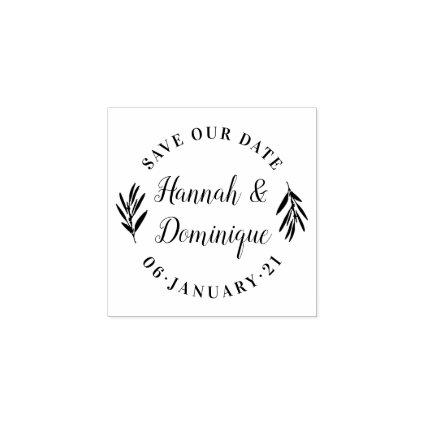 Olive Branch Calligraphy Save The Date Wedding Rubber Stamp