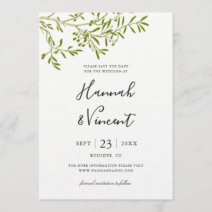Olive Branch Save the Date card