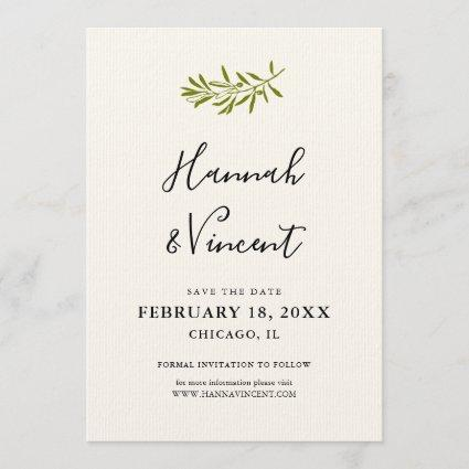 Olive Branch Save the Date card | Ivory