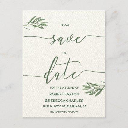 Olive Leaves Save the Date Card