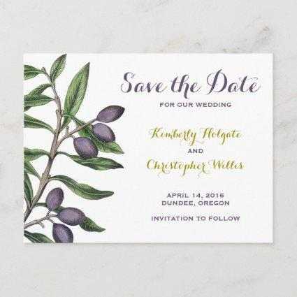 Olive Tree Branch Save the Date   Green Purple Announcement