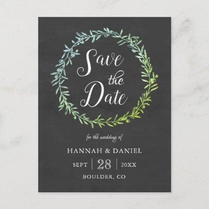 Olive Wreath Chalkboard Save the Date Template