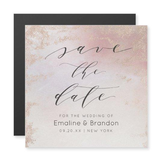 Ombre Blush Pink Frosted Foil Trendy Save the Date