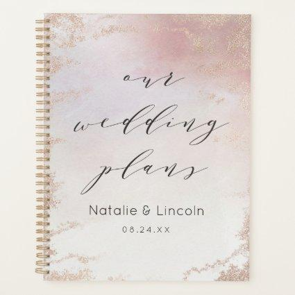 Ombre Blush Pink Frosted Foil Watercolor Wedding Planner