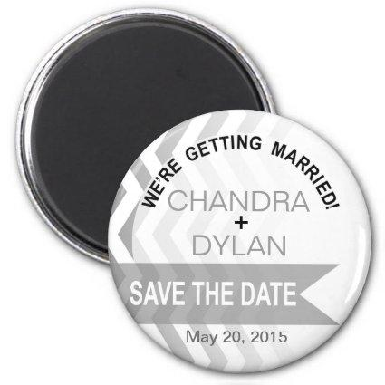 Ombre Chevron Style! Save the Date silver Magnets