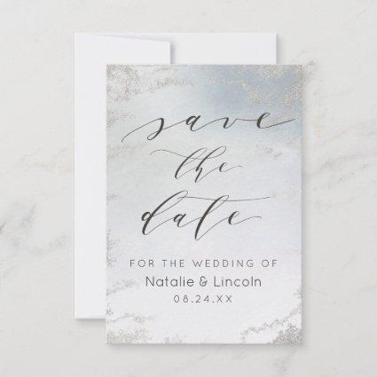 Ombre Dusty Blue Frosted Silver Foil Chic Wedding Save The Date