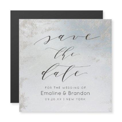 Ombre Dusty Blue Frosted Silver Foil Save the Date