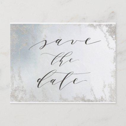 Ombre Dusty Blue Frosted Silver Foil Save the Date Announcement