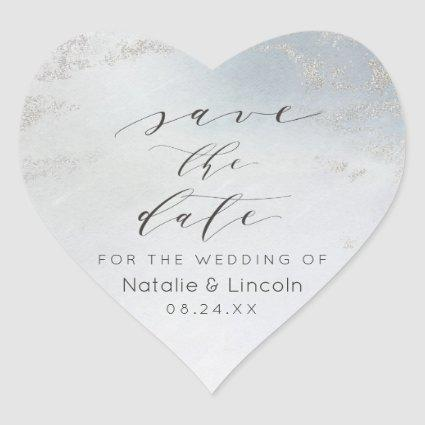 Ombre Dusty Blue Frosted Silver Foil Save the Date Heart Sticker