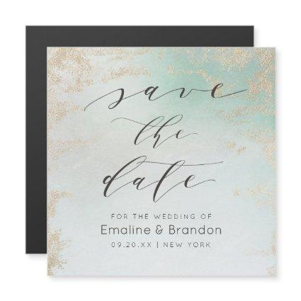 Ombre Teal Aqua Frosted Gold Foil Save the Date