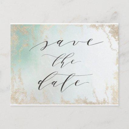 Ombre Teal Aqua Frosted Gold Foil Save the Date Announcement