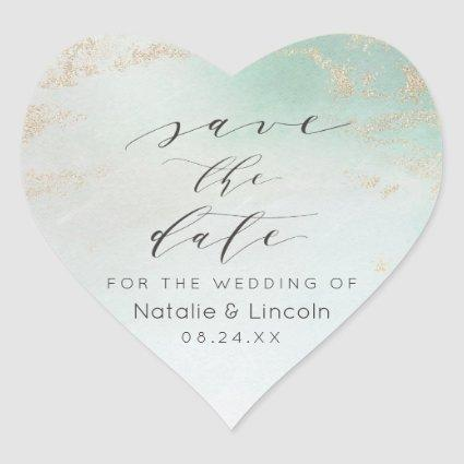 Ombre Teal Aqua Frosted Gold Foil Save the Date Heart Sticker