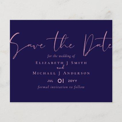 ON SALE! Navy Blue Rosegold Save the Date Wedding