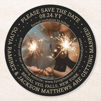One Photo Black Gold Modern Wedding Save the Date Round Paper Coaster