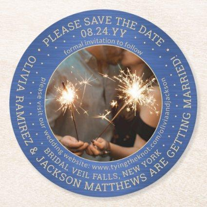One Photo Blue Gold Brushed Wedding Save the Date Round Paper Coaster