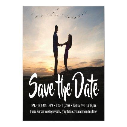 One Photo Save the Date Script 1 Picture Wedding Magnetic Invitation