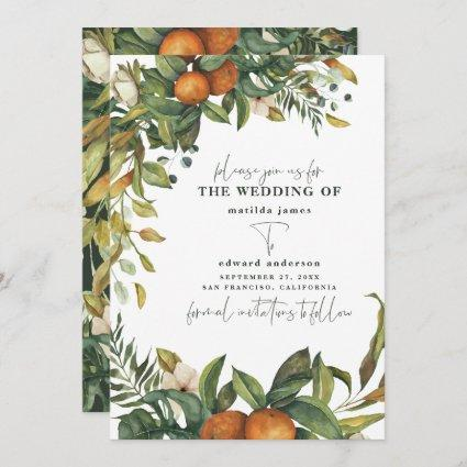 Orange citrus watercolor botanical wedding save the date