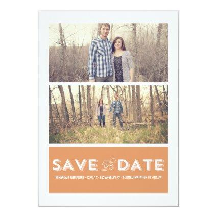Orange Double Photo Save The Date Announcements