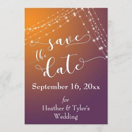 Orange Plum Ombre & Light Strings Save the Date