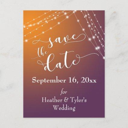 Orange Plum Ombre & Light Strings Save the Date Announcement