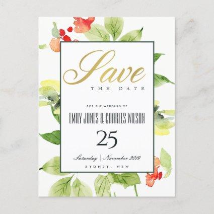 ORANGE RED ROSE WATERCOLOR FLORAL SAVE THE DATE ANNOUNCEMENT