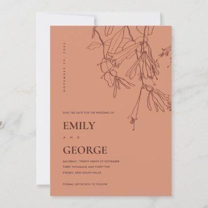 ORANGE RUST LINE DRAWING FLORAL SAVE THE DATE CARD
