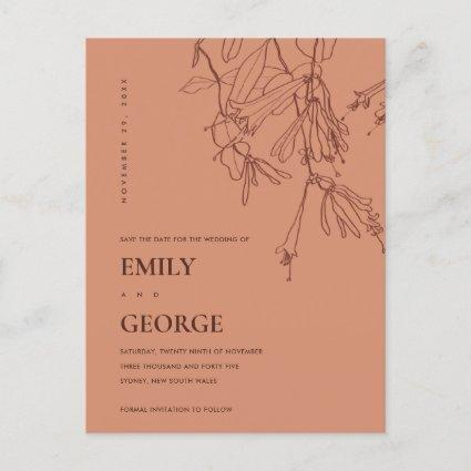 ORANGE RUST RED LINE DRAWING FLORAL SAVE THE DATE ANNOUNCEMENT