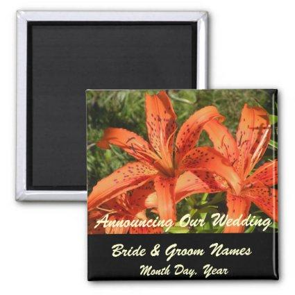 Orange Tiger Lilies Wedding Save the Date Magnet