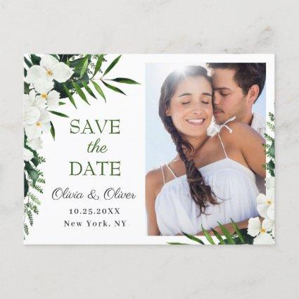 Orchid Bohemian Floral Wedding Save The Date PHOTO Announcement