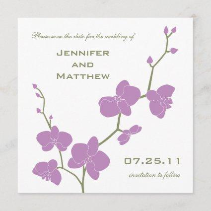 Orchids Save the Date - Vintage Olive and Violet
